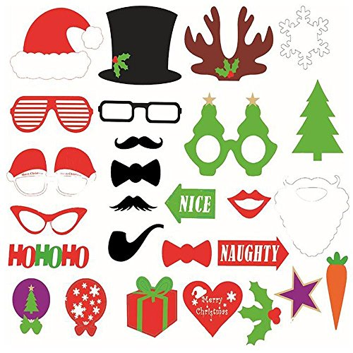 OIF Christmas Photo Booth Props 28 Pics Mustache Kit Stick Party Glasses Red Lips Deer Horn Santa Hat (Props Booth Santa Photo)