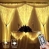 LE Cortina de Luces LED 3x3m 300LED con Gancho y Colgante de Cristal, 8 Modos de Luz , Blanco Cálido, Decorativas Cobre Luz Resistente al Agua para Romántico Boda, Navidad, Fiesta, Jardín