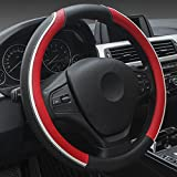 XuanMax Universal Mikrofaser Leder Lenkradbezug Atmungsaktiv Fahrzeug Lenkradhulle Anti-Rutsch Lenkradschoner Auto Lenkrad Abdeckung Lenkradabdeckung Steering Wheel Cover 38cm - Rot