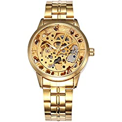 Alienwork Automatic Watch Self-winding Skeleton Mechanical Metal gold gold W0129-01