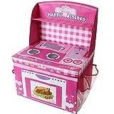 TE-Trend Spielküche Aufbewahrungsbox Spieltruhe Spielbox faltbar mit Deckel und Aufsatz in rosa