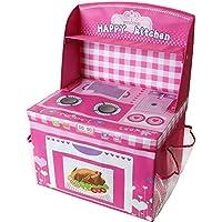 Preisvergleich für TE-Trend Spielküche Aufbewahrungsbox Spieltruhe Spielbox faltbar mit Deckel und Aufsatz in rosa