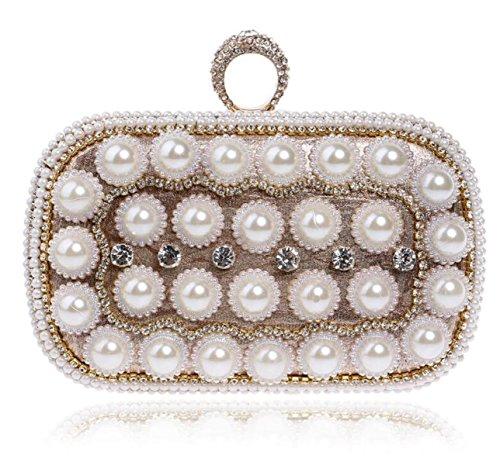 Mode Ladies Pearl Handbag Banquet Dinner Bag KTV Nightclub Lady Bridal Dress Décoration Embrayage gold