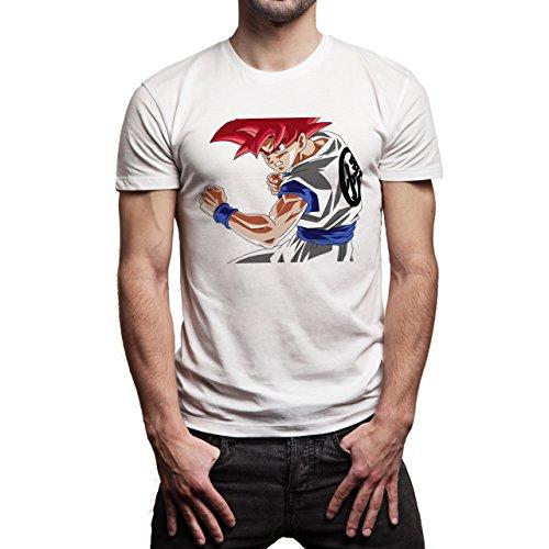 Dragon Ball Gogu Super Saiyan God Red Hair Dragon Ball Super Herren T-Shirt Weiß
