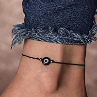 FDesigner Evil Eye Anklet Bracelet Black Braided Foot Chain Bohemian Rope Beach Decoration Jewelry for Women and Girls