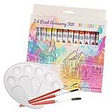 Pintura Tempera Acrílica de Tubo - Set de 24 Colores - Incluye Bochas/Pinceles Paleta ? Pigmentos, Brillo de Alta Calidad ? Principiantes, Estudiantes