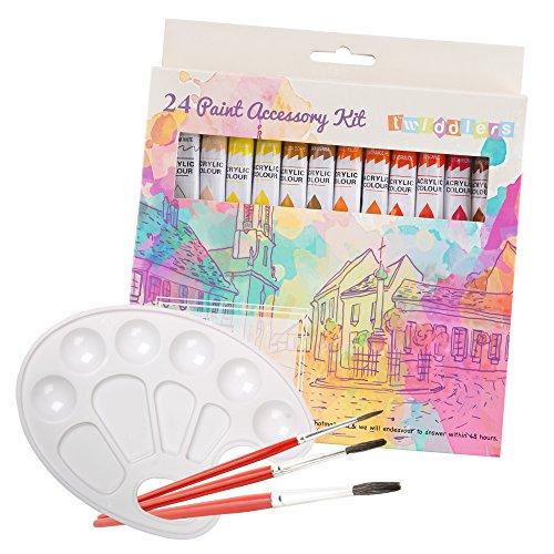Set per dipingere con 24 colori acrilici completo di pennelli e tavolozza – per artisti professionisti o principianti – perfetto per carta, tela, progetti d'arte