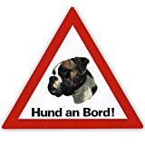 Auto Aufkleber 'Hund an Bord' inkl. 4 World Sticker Aufkleber Boxer, braun/weiss