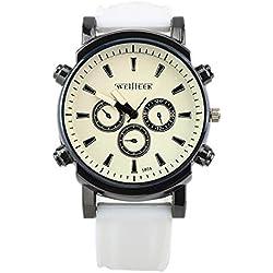 Big Dials Wrist Watch - Weijieer Silicone Band Big Round Face Big Dials Men's Boys Sport Wrist Watch Quartz Watch, White