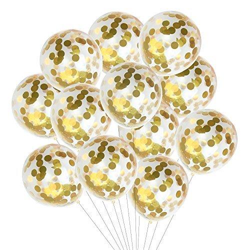 Kuuqa 15 pedazos de globos de confeti de oro 12 pulgadas para las decoraciones de la fiesta de cumpleaños de la boda