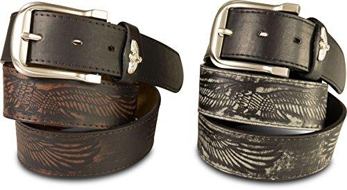 SCAMODA Herren-Gürtel Set mit Adler-Aufdruck im Western-Style, Country-Look, kürzbar, Breite ca. 4 cm (110) (Cowboy Leder Gürtel Für Männer)