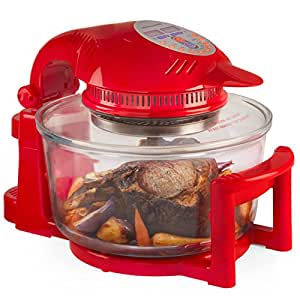 Andrew James 12 Litre Digital Halogen Oven Cooker, Red, 1400W