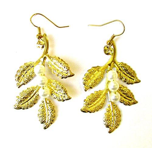 Gold Weiß Perle Ohrringe Blatt Olive Grecian Brautschmuck Boho Drop Haken Vintage 1135Stil der Zwanzigerjahre (Grecian Ohrringe)