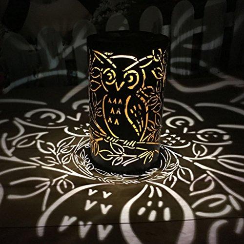 ledmomo Solar Farol Retro de Impermeable LED de luces de jardín para colgar y suelo Uso (cilíndrico Owl Light, Negro)