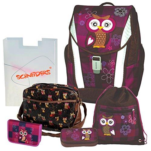 Olivia the Owl Eule Schulranzen Set TOOLBAG SOFT Schneiders u. passende Federtasche hochwertige Sporttasche Set 12 tlg. - 78405-051