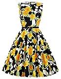 Damen Elegant aermellos blumenprint sommerkleid cocktailkleid festliches Kleid Größe 2XL CL6086-38