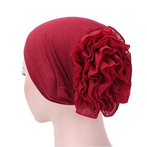 (WQIANGHZI Kopftücher Damen Chemo Sommer Muslimische Kopfbedeckung Hochwertiges Hijab Kopftuch Schöne mit Blumen Dekoration 11 Farben (Wein))
