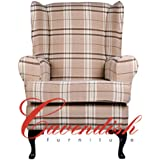 """Extra Wide (21"""" Seat width) Luxury Orthopedic High Seat Chairs in 21"""" or 19"""" Seat Heights. Balmoral Beige Tartan. (21"""" Seat Height)"""
