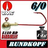 VMC Jigkopfhaken Jigkopf Rund 6/0 14g Jighaken VMC Barbarian 5150 RD 5Stück im Set