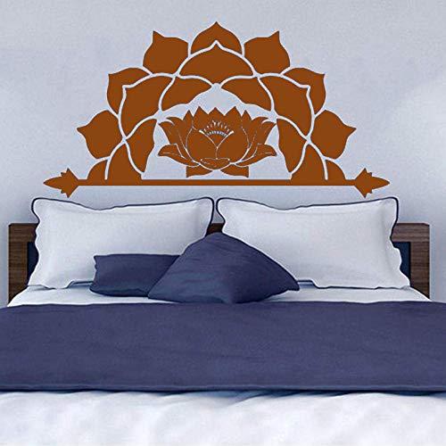 guijiumai Adesivi murali Mezza Mandala Adesivo Modello Fiore di Loto Adesivo in Vinile Decalcomanie Testiera Camera da Letto Boho Decor Lc1476 1 111cm x 56cm