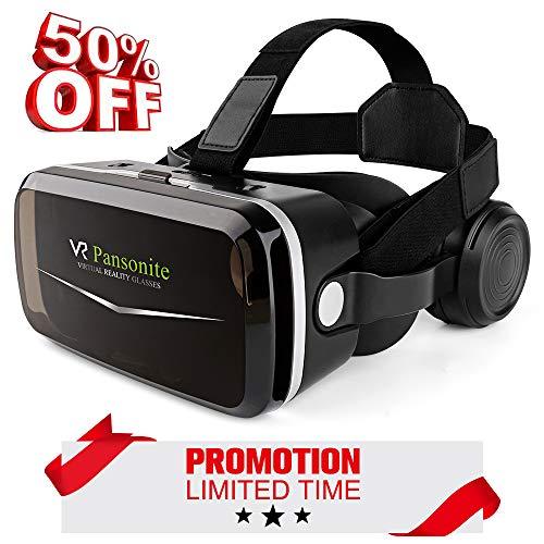 Pansonite VR-Headset mit Fernbedienung, 3D-Virtual-Reality-Brille für Filme und Videospiele, geringes Gewicht & Augenschutz Mechanismen für Smartphones innerhalb von 11,9-15,2 cm, schwarz