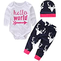 Le SSara Baby Girl Hello World Body in cotone con pantaloni & cappello