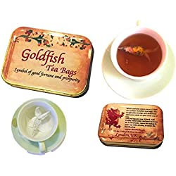 Personalisierte Geschenkbox, 4Goldfish Teebeutel, Earl Grey & Kräutertee, viel Glück Geschenk, Tea Party, Neuheit Tee Geschenke, Creative Teebeutel, Geburtstag Geschenk, Tee Liebhaber Geschenke