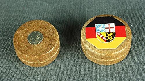 Preisvergleich Produktbild Magnet Saarland Flagge 28x12 mm runder Holz Zylinder hell Flaggenmagnet