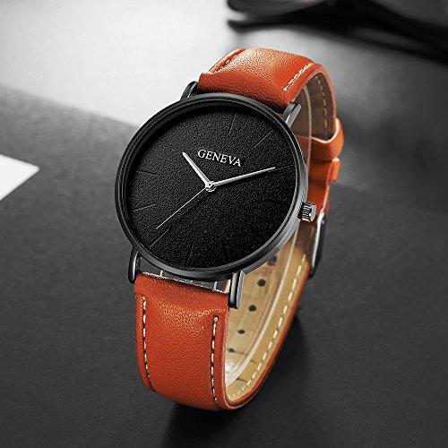 Damen Analog Quarz Uhr mit Leder Armband Braun