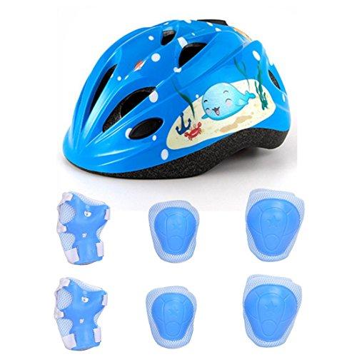 Lommer 7pcs Ajustable Casco Bici Niño Casco Ciclismo Bebe Clásico con Almohadilla Protección para Bicicleta, Patinete, Scooter, Monopatín, 3-7 Anos (Azul)