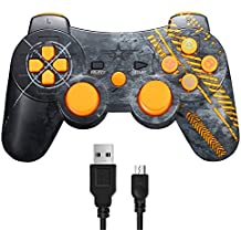 Warfare Controller Wireless Bluetooth Joystick per PS3 Giochi, Doppia Vibrazione Sixaxis Joypad Gamepad per Sony PS3 PlayStation 3 - Warfare Edition (Giallo)