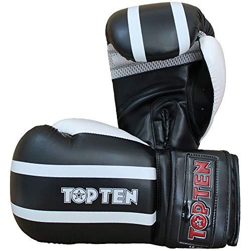 TOP Ten Boxhandschuhe, Stripe, schwarz-weiß Größe 10 Oz