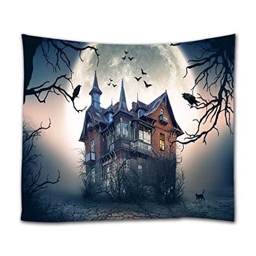 Wandbild Vorhang Wandteppiche Spukhaus Fledermaus Krähe Fliegen In Dunklen Himmel Runde Mond Gothic Halloween Urlaub Dekore Drucken Stoff Wand Tapisserie Wandbehänge 130x153cm ()