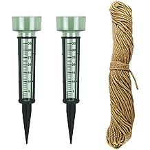 Lantelme 6507 Gewächshauszubehör mit Rankseil Sisal und 2 Stk Regenmesser in grün mit Erdspieß - Sisalseil 50 Meter und Niederschlagsmesser im Set