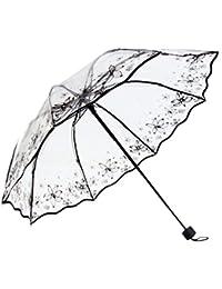 Enerhu Paraguas de plástico Paraguas negro simple patrón transparente Equipo de lluvia Paraguas en relieve negro