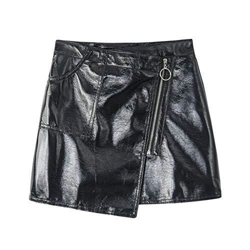 QBXDQ Kurzer Rock Pu Kurzen Rock Frauen Bodycon Schwarz Minirock Kette Streetwear Hohe Taille Bleistift Rock, S -