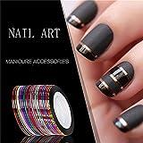 Elistelle 10 Farben Zierstreifen Nail Art Set Stripes Stripe Sticker Nagelzubehör Nageldesign
