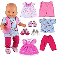 Miunana 6 Items = 3 PCS Clothes Dresses + 3 PCS Shoes For 14-16 Inch Baby Dolls Newborn Dolls And Other 14-16 Inch Dolls