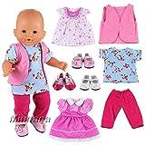 Miunana 3x Vestidos Verano Casual Ropas Fashion + 3x Zapatos para 14 - 16 pulgada muñeca bebé 36 - 40 cm Doll