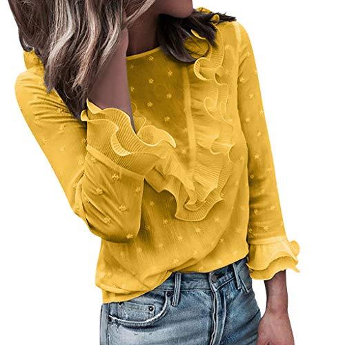 Tohole Damen Oberteile Sexy Langarm Oberteile Bluse Locker Top Bluse Mit Spitze Langarmshirts Cut Out Shirt Loose Top (Gelb,L)