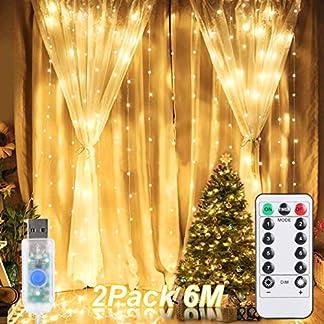 600-LED-USB-Lichtervorhang-ALED-LIGHT-2-Pack-3x3M-2×300-LED-Lichternetz-Wasserfest-Sterne-Lichterkette-Warmwei-8-Modi-Vorhang-Lichterketten-fr-Weihnachten-Kinderzimmer-Innenbeleuchtung-Auen-Party