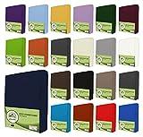 leevitex® Jersey Spannbettlaken, Spannbetttuch 100% Baumwolle in vielen Größen und Farben MARKENQUALITÄT ÖKOTEX Standard 100   90 x 200 cm - 100 x 200 cm - Navy Blau