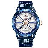 Reloj para Hombre NAVIFORCE con Movimiento de Calendario de Cuarzo, hasta 30 m de Resistencia al Agua, Pulsera de Malla de Acero Inoxidable
