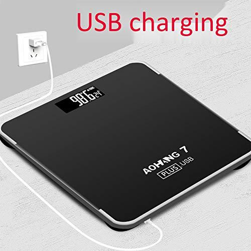 Ayy USB Charge balances électroniques à la Maison échelles humaines de santé sur Mesure pèse-Personne échelle électronique,Black