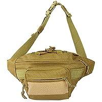 Shuzhen,Bolsa de Cintura para Acampar al Aire Libre 2L(Color:Caqui)