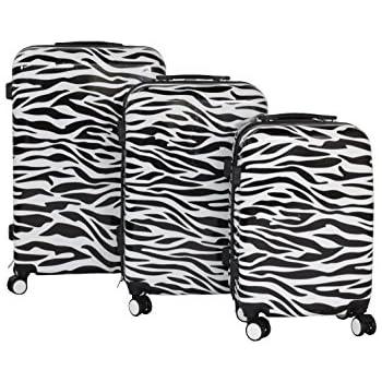 Swiss Case 4 Wheels Hard 2Pc Suitcase Set Zebra: Amazon.co.uk ...