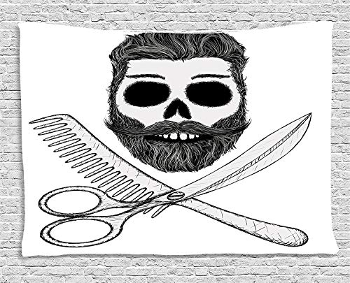 daawqee Indie Tapestry Hipster Skull with Hairstyle Beard and Mustache Comb and Scissors Creepy Retro for Living Room Bedroom Dorm 80 W X 60 L Inches Unique Home Decor
