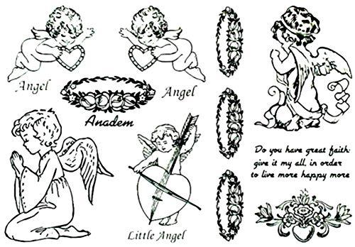 EROSPA® Tattoo-Bogen / Sticker temporär - Engel / Angel - schwarz - 15,5 x 11 cm (Halloween-make-up-engel Des Todes)