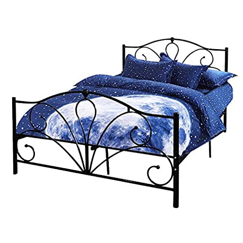 Bed Frame, HST Mall Standard Double Metal Bed Frame Solid Bedstead Base-4ft6-for Child or Adults-2 Headboards-Deep