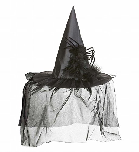 Halloween - Hexenhut mit Tüll, Federn und Spinne für Erwachsene und Jugendliche (Halloween Party Kostüm Ideen Für Jugendliche)